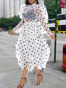 White Polka Dot Fluffy Puffy Tulle Grenadine Patchwork Cascading Ruffle 2-in-1 Ruffle Long Sleeve Maxi Dress
