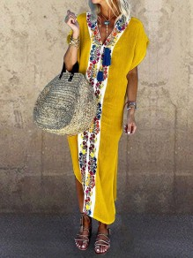 Yellow Patchwork Tribal Floral Embroidered Print V-neck Short Sleeve Slit Bohemian Beach Maxi Dress
