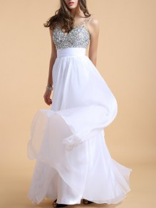 White Patchwork Sequin Glitter Sparkly Double V-neck Backless Prom Maxi Dress