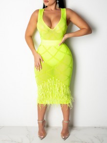 Neon Yellow Grenadine Sheer Patchwork Pearl Feather With Plaid Rhinestones V-neck Sleeveless Bodycon Maxi Dress