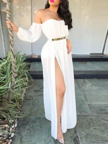 White Bandeau Off Shoulder Long Sleeve Slit Beach Wedding Maxi Dress