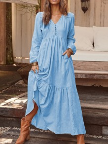 Light Blue Buttons V-neck Puff Sleeve Ruffle Draped Flowy Bohemian Beach Wedding Maxi Dress