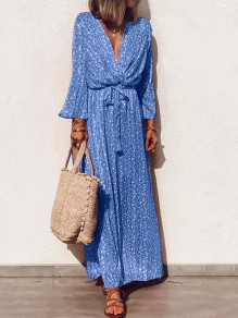 Blue Floral Sashes Pleated V-neck Long Sleeve Bohemian Maxi Dress