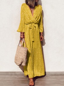 Yellow Floral Sashes Pleated V-neck Long Sleeve Bohemian Maxi Dress