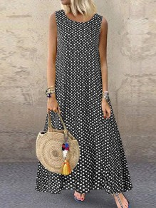 Black Polka Dot Print Round Neck Sleeveless Beach Maxi Dress