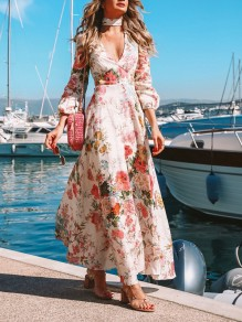 White Floral Draped Trendy Deep V-neck Lantern Sleeve Casual Flowy Bohemian Maxi Dress