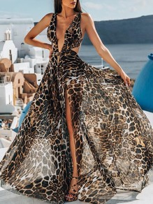 Brown Leopard Cut Out Deep V-neck Backless Slit Fashion Maxi Dress