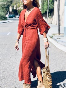 Wine Red Cut Out Crop V-neck Flare Sleeve Slit Fashion Casual Bohemian Maxi Dress