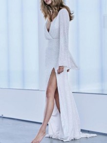 White Patchwork Sequin V-neck Flare Sleeve Thigh High Side Slits Glitter Sparkly Party Maxi Dress