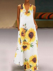 White Irregular Sunflower Print Pockets V-neck Sleeveless Big Swing Flowy Bohemian Beach Maxi Dress