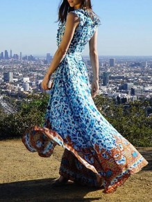 Light Blue Patchwork Ruffle Bohemian Print V-neck Sleeveless Big Swing High-low Flowy Maxi Dress