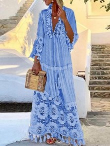 Blue Lace Tassel V-neck Long Sleeve Bohemian Beach Maxi Dress