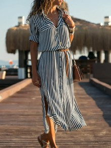 Blue White Striped Button V-neck Long Sleeve Bohemian Blouse Maxi Dress
