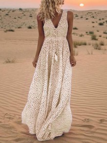 Yellow Polka Dot Tassel V-neck Sleeveless Bohemian Beach Maxi Dress