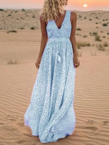 Blue Polka Dot Tassel V-neck Sleeveless Bohemian Beach Maxi Dress