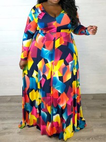Blue Colorful Geometric Print V-neck Long Sleeve Plus Size Flowy Maxi Dress