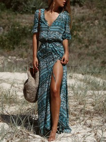 Dark Green Tribal Floral Button V-neck Elbow Sleeve Bohemian Beach Maxi Dress