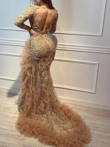 Golden Patchwork Sequin Grenadine Band Collar Backless Long Sleeve Slit Mermaid Prom Maxi Dress