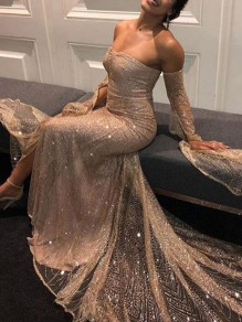 Apricot Patchwork Sequin Grenadine Off Shoulder Slit Mermaid Prom Maxi Dress