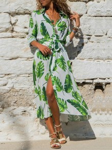 White Green Floral Sashes Single Breasted Long Sleeve Slit Maxi Dress