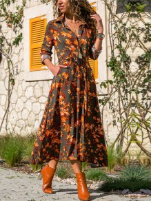 Grey Orange Floral Sashes Single Breasted Long Sleeve Slit Maxi Dress