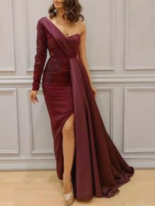 Purple Sequin One-Shoulder Bandeau Side Slit Banquet Party Maxi Dress