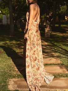 Apricot Butterfly Floral Backless V-neck Sleeveless Bohemian Beach Maxi Dress