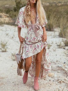 Apricot Floral Pattern Irregular Cut Out High-low Beach Holiday Bohemian Maxi Dress