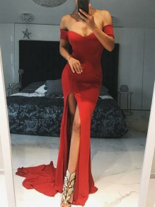 Red Off Shoulder Thigh High Side Slits Bodycon Mermaid Prom Evening Party Maxi Dress