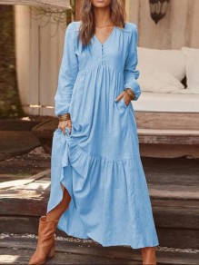 Light Blue Ruffle Pocket V-neck Long Sleeve Beach Maxi Dress