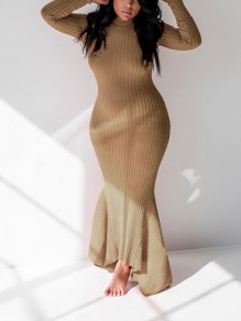 Khaki Pleated Bodycon Mermaid Long Sleeve Party Maxi Dress