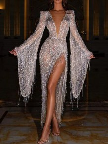 Silver Patchwork Sequin Tassel Side Slit Flare Sleeve Sparkly Banquet Party Maxi Dress
