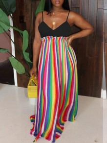 Red Rainbow Striped Pattern Draped Spaghetti Strap Backless Jamaica Holiday Beach Flowy Maxi Dress