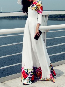 White Patchwork Floral Print Three Quarter Big Swing Flowy Elegant Beach Wedding Maxi Dress