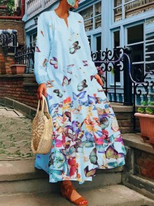 Light Blue Colorful Butterfly Print Pockets V-neck Long Sleeve Flowy Cute Maxi Dress