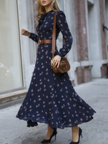 Dark Blue Floral Pattern Bow Chiffon Long Sleeve Elegant Maxi Dress