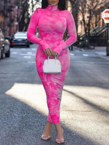 Pink Tie Dye Band Collar Long Sleeve Ruched Bodycon Maxi Dress With Gloves Thumb Holes