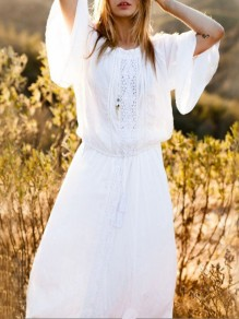 White Lace Long Sleeve Beach Maxi Dress Bikini Cover Up