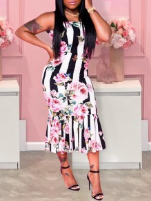 White Floral Striped And Butterfly Print Shoulder-Strap Square Neck Bodycon Mermaid Prom Maxi Dress