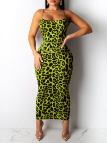 Neon Green Leopard Print Spaghetti Strap Bodycon Party Maxi Dress