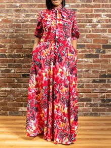 Red Floral Bow Belt Pleated Pockets Plus Size Bohemian Party Maxi Dress