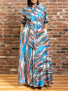 Blue Floral Bow Belt Pleated Pockets Plus Size Bohemian Party Maxi Dress