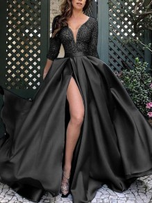 Black Patchwork Sequin Grenadine V-neck Three Quarter Length Sleeve Slit Big Swing Flowy Prom Maxi Dress