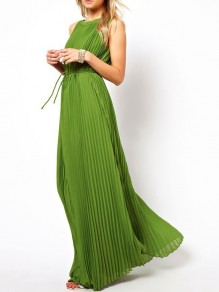 Green Pleated Halter Neck Sleeveless Belt Chiffon Flowy Maxi Dress
