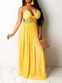 Yellow Patchwork Lace Spaghetti Strap Pleated V-neck Bohemian Boho Party Maxi Dress