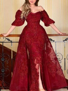 Red Off Shoulder Bright Wire Grenadine Bodycon Mermaid Sparkly Glitter Birthday Prom Evening Party Maxi Dress