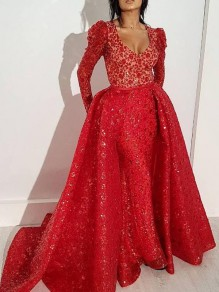 Red Floral Sequin Mermaid Sparkly Glitter Banquet Party Maxi Dress With Maxi Overlay