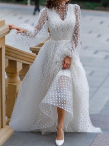 White Polka Dot Grenadine Band Collar Long Sleeve Maxi Dress