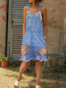 Light Blue Floral Pockets Denim Overall Maxi Dress