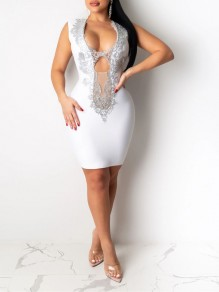White Patchwork Lace Deep V-neck Bodycon Party Maxi Dress